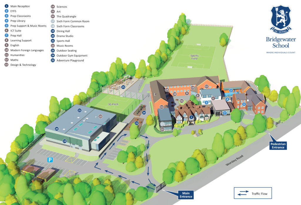 Bridgewater School 3D location map by Business Maps Ltd www.busi